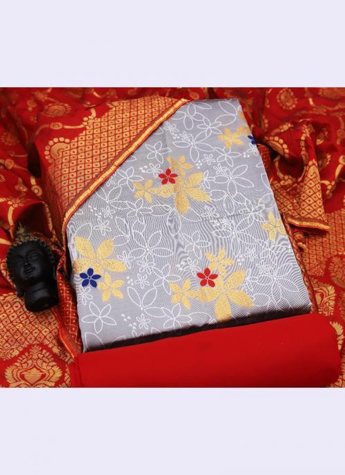 Light Grey Banarasi Silk Casual Wear Embroidery Work Salwar Suit