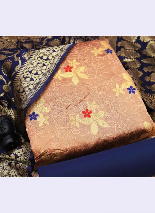 Peach Banarasi Silk Casual Wear Embroidery Work Salwar Suit