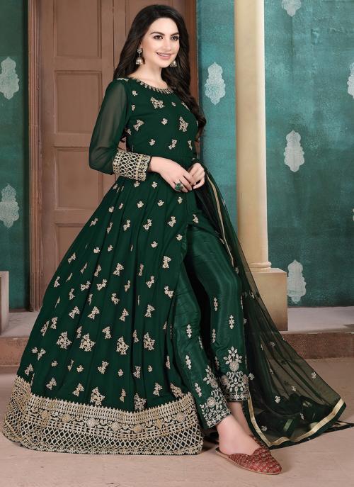 Green Faux Georgette Party Wear Embroidery Work Anarkali Suit