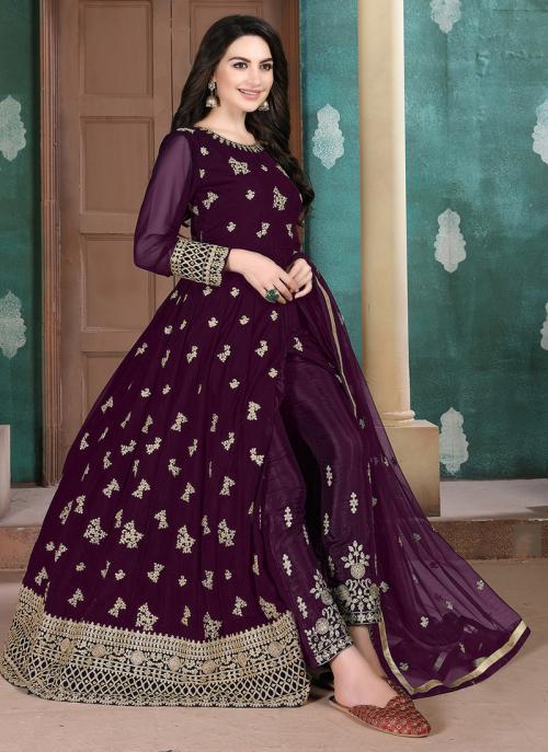 Purple Faux Georgette Party Wear Embroidery Work Anarkali Suit