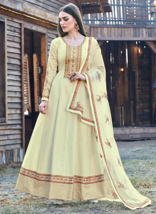 Cream Dola Silk Festival Wear Embroidery Work Anarkali Suit
