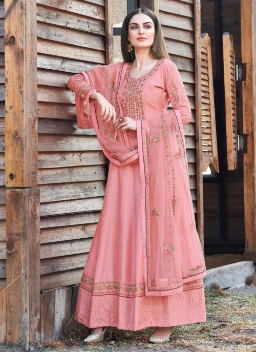 Pink Dola Silk Festival Wear Embroidery Work Anarkali Suit