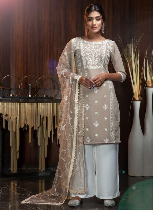 Beige Georgette Party Wear Diamond Work Palazzo Suit