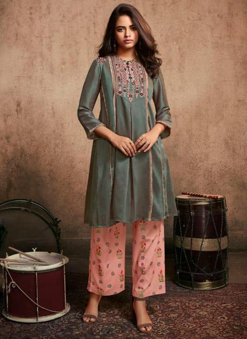Grey Berry Silk Party Wear Embroidery Work Kurti With Pant