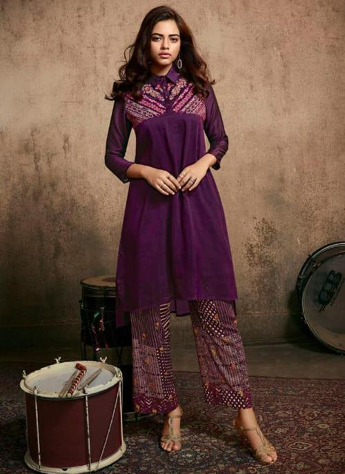 Purple Berry Silk Party Wear Embroidery Work Kurti With Pant