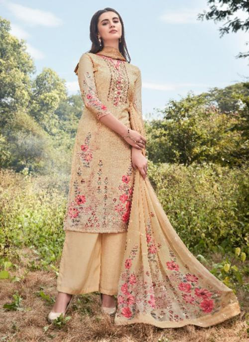 Beige Muslin Silk Traditional Wear Sequins Work Palazzo Suit
