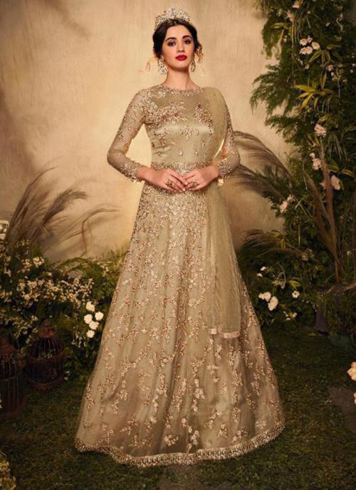 Gold Net Reception Wear Heavy Embroidery Work Anarkali Suit
