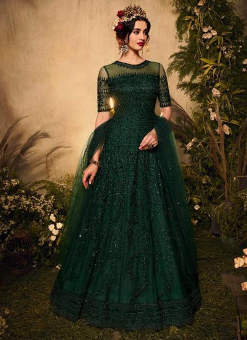 Green Net Reception Wear Heavy Embroidery Work Anarkali Suit
