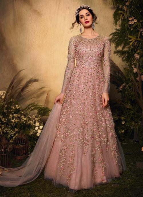 Pink Net Reception Wear Heavy Embroidery Work Anarkali Suit