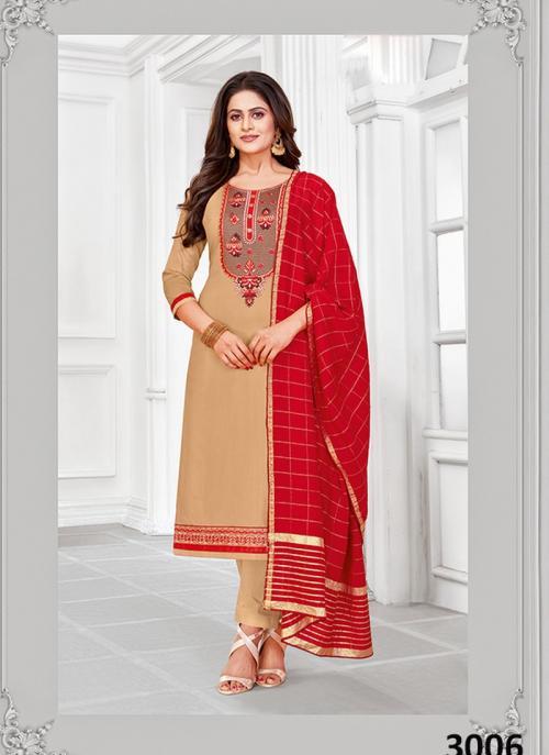Beige Jam Cotton Regular Wear Embroidery Work Churidar Suit