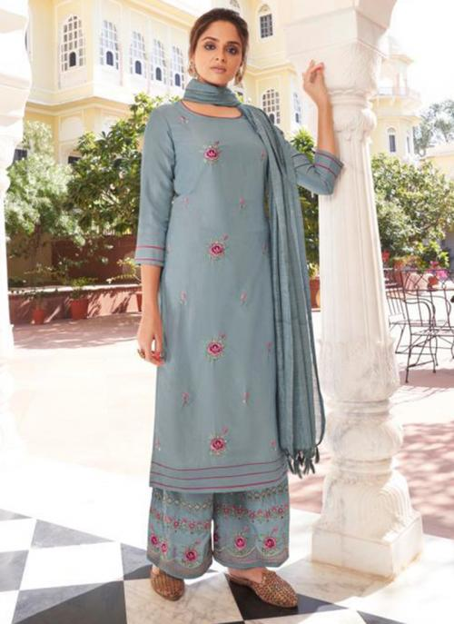 Grey Modal Viscose Party Wear Embroidery Work Readymade Palazzo Suit