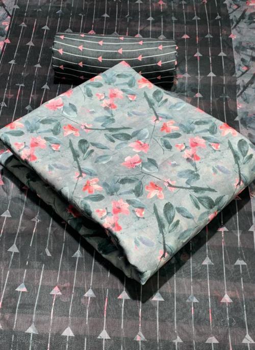 Grey Pashmina Casual Wear Printed Work Dress Material