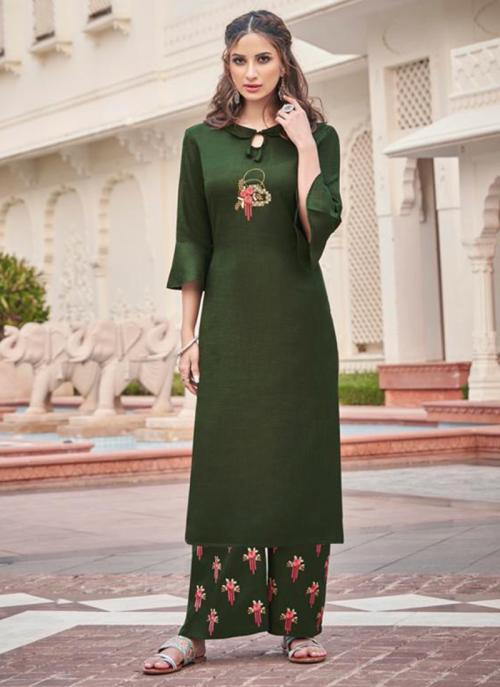 Green Majic Club Casual Wear Embroidery Work Kurti With Pant