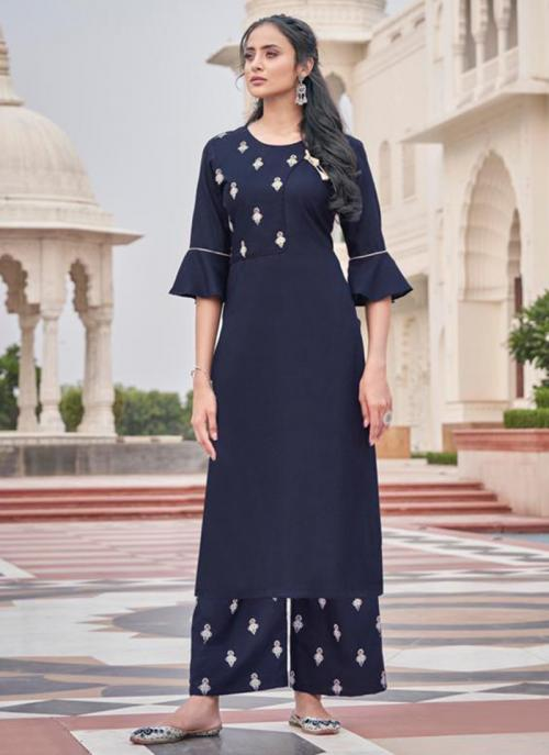 Navy Blue Majic Club Casual Wear Embroidery Work Kurti With Pant