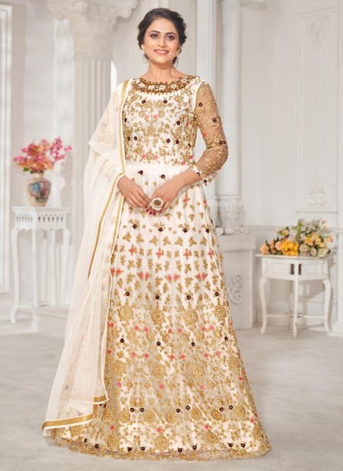 White Georgette Wedding Wear Embroidery Work Anarkali Suit