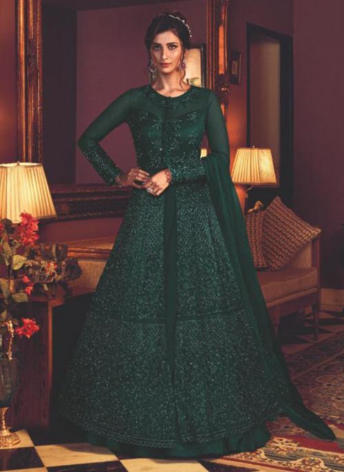 Dark Green Net Wedding Wear Heavy Embroidery Work Anarkali Suit