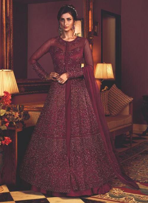 Wine Net Wedding Wear Heavy Embroidery Work Anarkali Suit