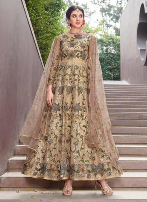 Golden Net Reception Wear Heavy Embroidery Work Anarkali Suit