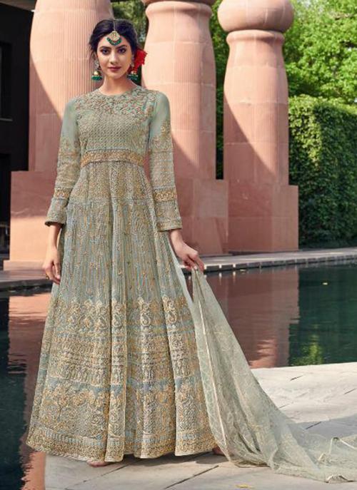 Light Grey Net Reception Wear Heavy Embroidery Work Anarkali Suit