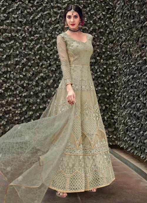 Olive Green Net Reception Wear Heavy Embroidery Work Anarkali Suit