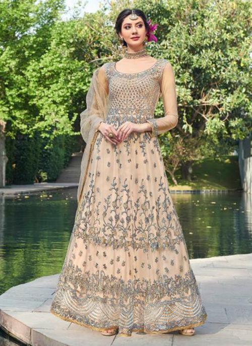 Peach Net Reception Wear Heavy Embroidery Work Anarkali Suit