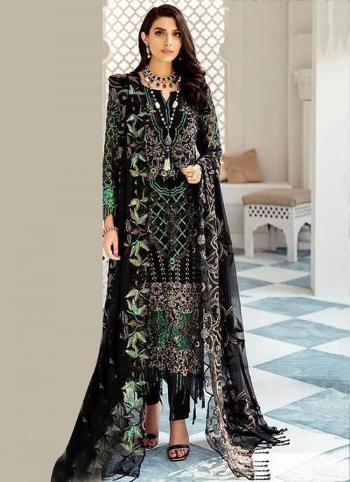 Black Faux Georgette Festival Wear Heavy Embroidery Work Pakistani Suit