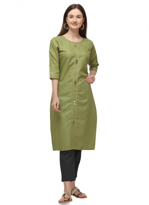 Green Ruby Cotton Daily Wear Embroidery Work Kurti