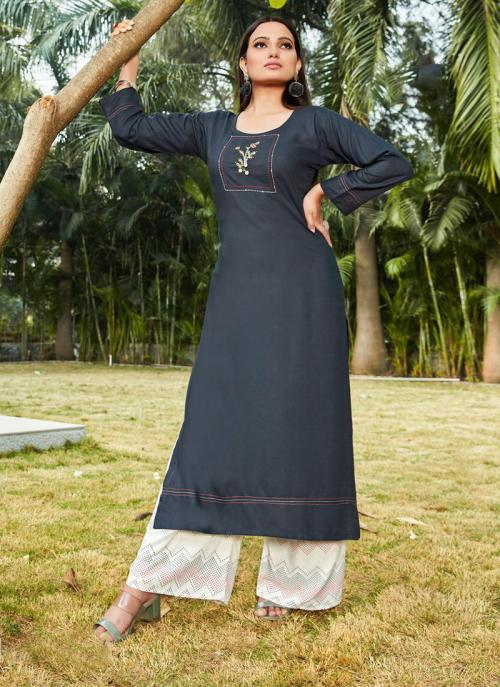 Navy Blue Rayon Daily Wear Embroidery Work Kurti With Palazzo