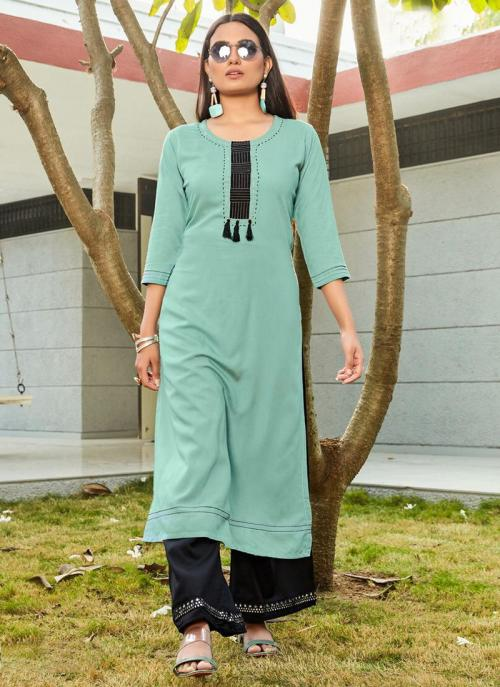 Teal Blue Rayon Daily Wear Embroidery Work Kurti With Palazzo