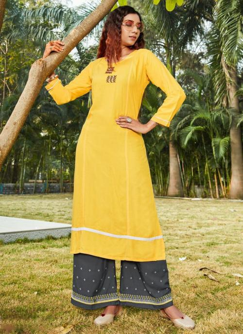 Yellow Rayon Daily Wear Embroidery Work Kurti With Palazzo