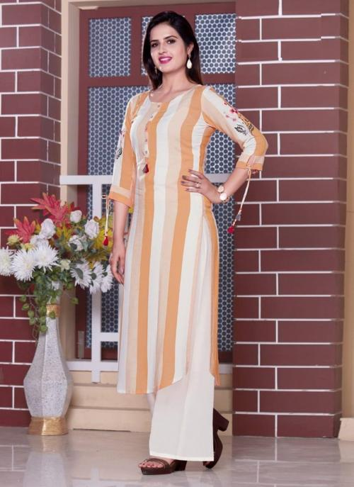 Peach Viscose Daily Wear Embroidery Work Kurti