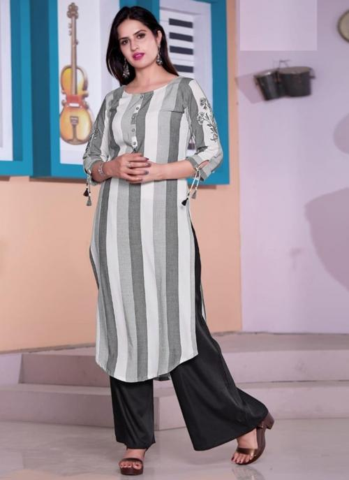 White Viscose Daily Wear Embroidery Work Kurti