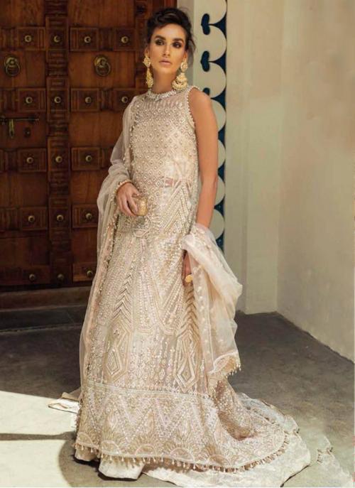 Cream Net Georgette Party Wear Hand Work Pakistani Suit