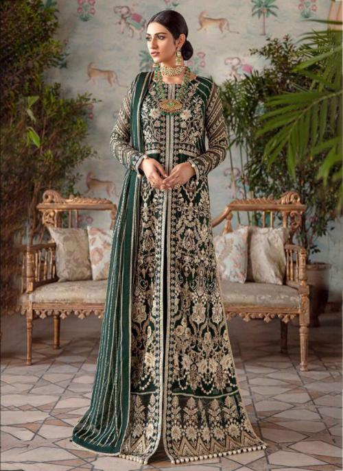 Dark Green Net Georgette Party Wear Hand Work Pakistani Suit