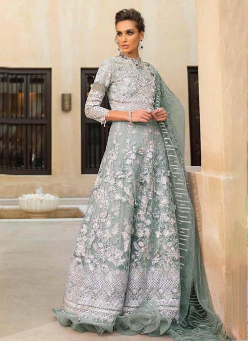 Grey Net Georgette Party Wear Hand Work Pakistani Suit