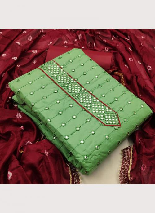 Pista Green Glace Cotton Casual Wear Mirror Work Salwar Suit