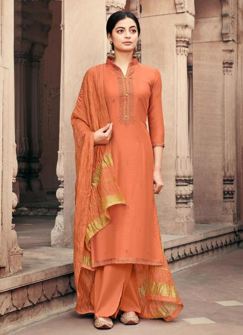 Beige Viscose Muslin Traditional Wear Embroidery Work Palazzo Suit