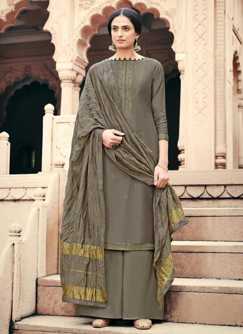 Dark Grey Viscose Muslin Traditional Wear Embroidery Work Palazzo Suit