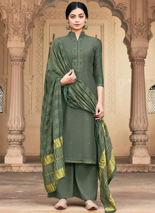Grey Muslin Traditional Wear Embroidery Work Palazzo Suit