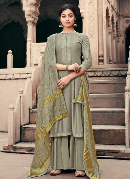 Grey Viscose Muslin Traditional Wear Embroidery Work Palazzo Suit