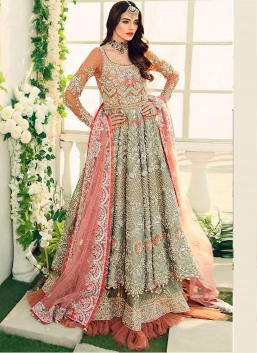 Pista Green Butterfly Net Wedding Wear Heavy Embroidery Work Pakistani Suit