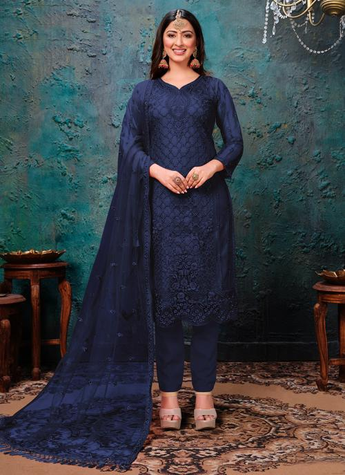 Navy Blue Net Festival Wear Embroidery Work Churidar Suit