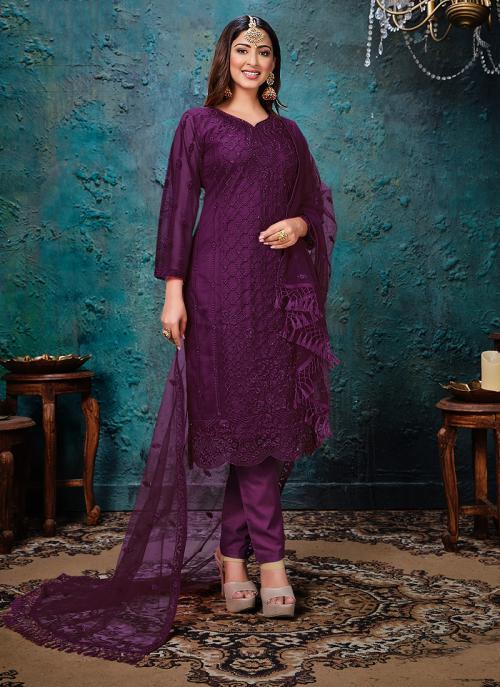 Wine Net Festival Wear Embroidery Work Churidar Suit