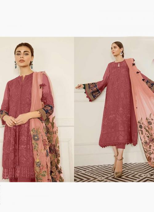 Dark Pink Georgette Festival Wear Embroidery Work Pakistani Suit