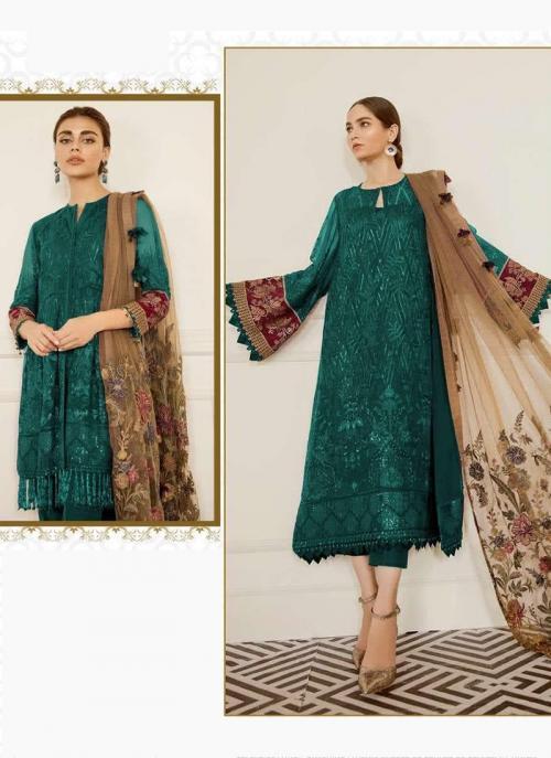 Green Georgette Festival Wear Embroidery Work Pakistani Suit