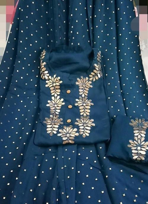 Blue Rayon Festival Wear Gota Work Salwar Suit