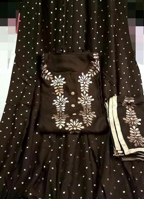 Brown Rayon Festival Wear Gota Work Salwar Suit