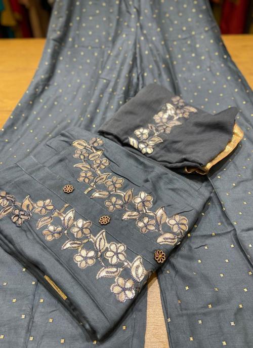 Grey Rayon Festival Wear Gota Work Salwar Suit