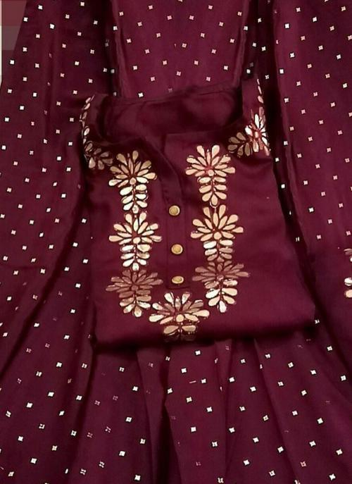 Wine Rayon Festival Wear Gota Work Salwar Suit