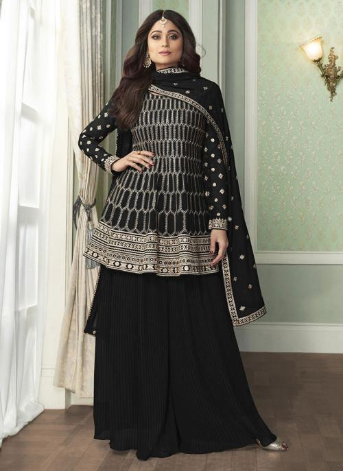 Black Faux Georgette Wedding Wear Embroidery Work Palazzo Suit